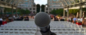 Photo: microphone and empty seats