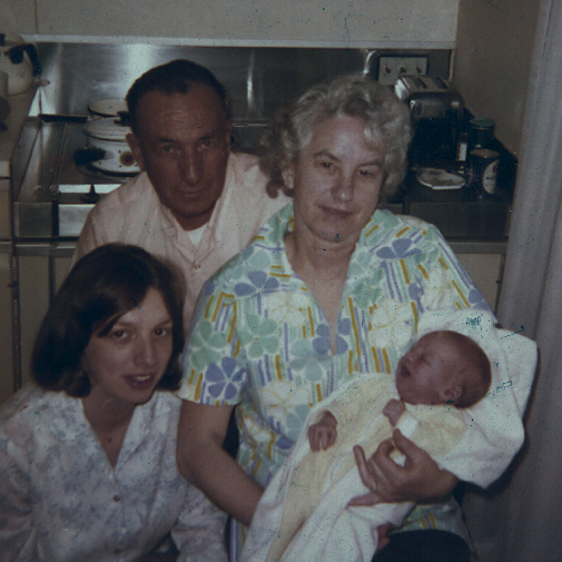 My grandpa (top left), grandma, mom and me, shortly after I was born.