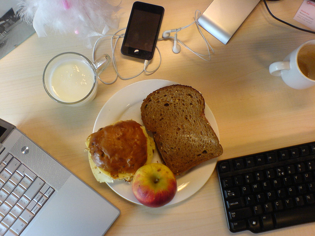 Photo: Untitled (lunch at desk), by rhodes Flickr